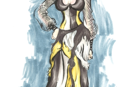 marker drawing of a regal woman wearing an opulent tattered gown in gold, black, and white fashion rendering