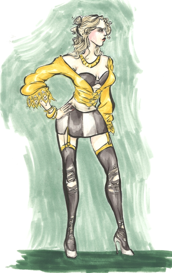 marker drawing of a debauched blonde woman wearing gold, black, and white fashion rendering