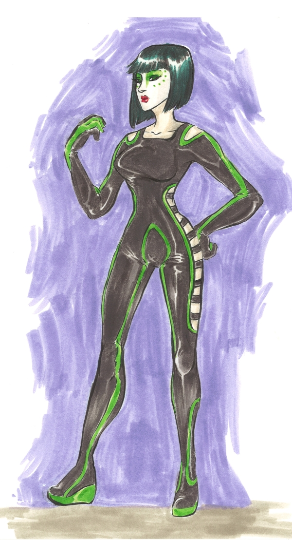 marker drawing of a futuristic woman wearing green and black fashion rendering