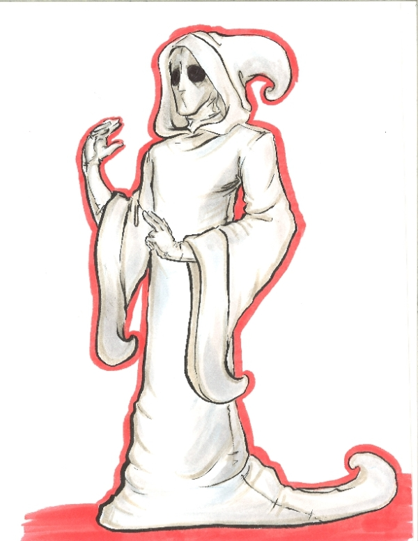 marker drawing of a hooded ghost fashion rendering