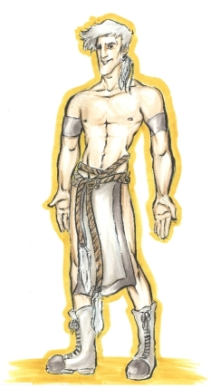 marker drawing of an albino man wearing a silver loincloth fashion rendering