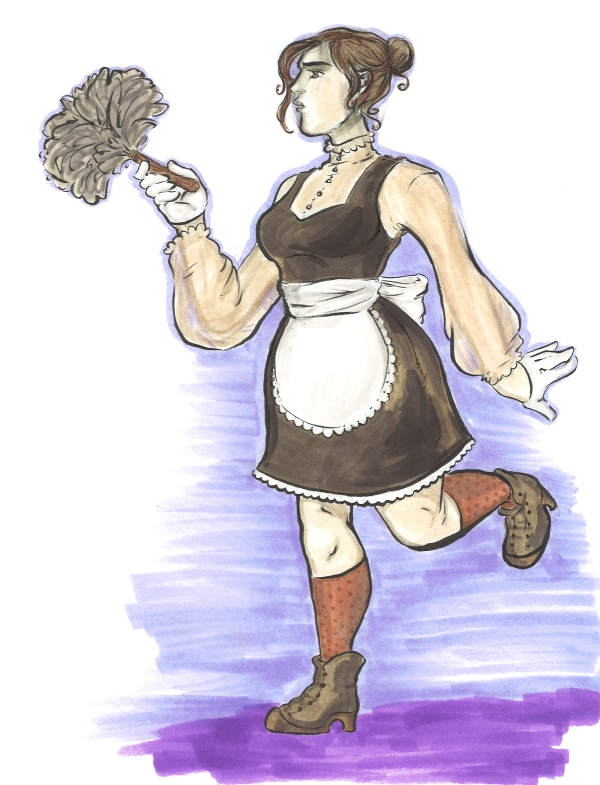 marker drawing of a maid posing with a feather duster fashion rendering