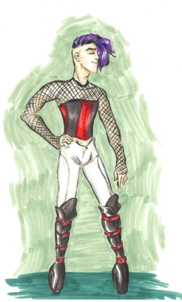 marker drawing of a man wearing a corset and high heeled boots fashion rendering