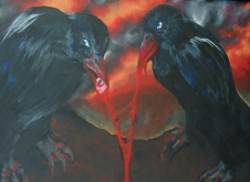 bloody acrylic painting of a pair of ravens eating a gory eyeball against a hellish cloudscape