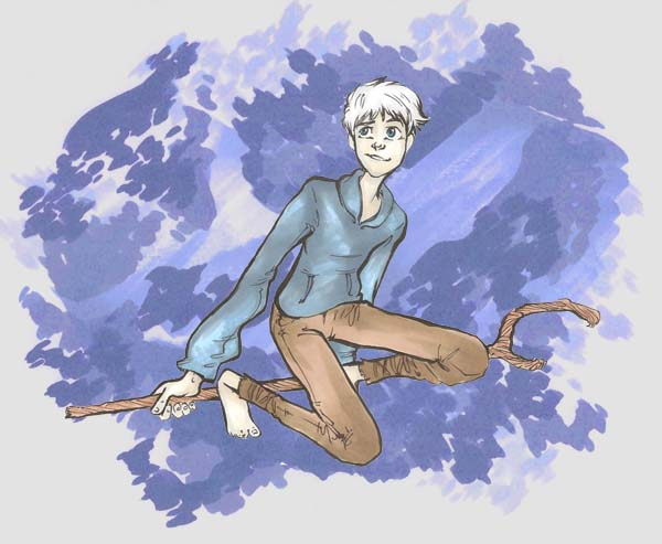 marker drawing of jack frost over an abstract blue background from rise of the guardians