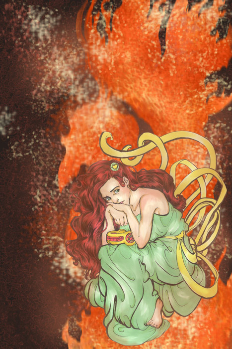 digitally enhanced drawing of jean grey as the phoenix with cyclops' visor on her lap art nouveau
