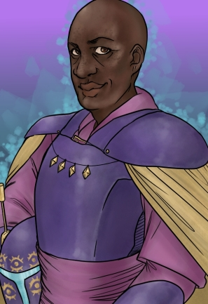 digital art drawing of a bald black woman with freckles wearing purple and gold mandalorian armor