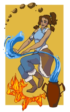 Digital drawing of Korra bending three of the four elements