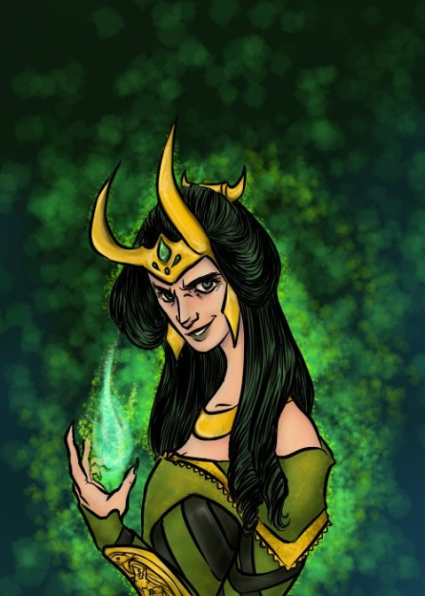 digital art drawing of lady loki with a sparkling green aura