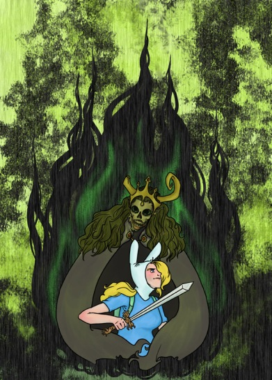 digital art drawing of fionna holding the root sword surrounded by the lich queen's cloak over green and black flames