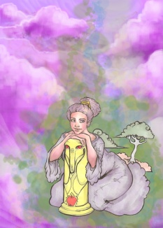 digitally enhanced marker drawing of lumpy space princess posing next to a statue of treetrunks