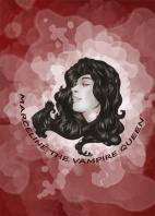 digitally enhanced marker drawing of marceline the vampire queen over a red and white background