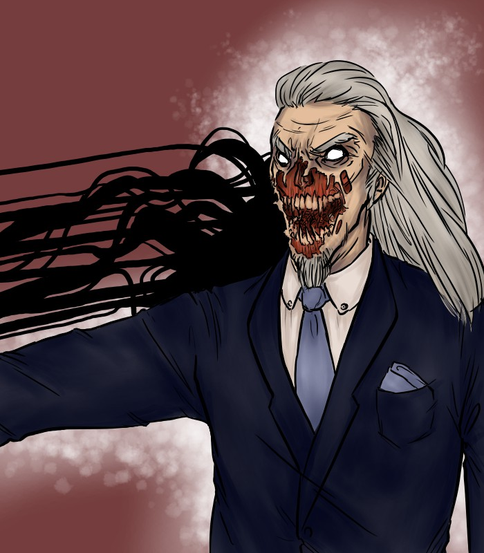 digital art drawing of mr. salacia with his demonic face exposed glowing and attacking someone with black tendrils