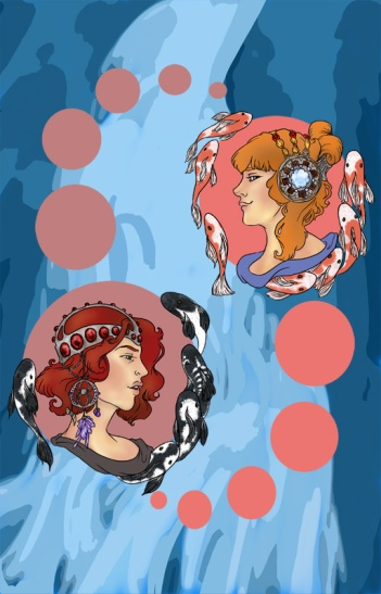 digital art drawings of pepper potts and natasha romanov as alphone mucha medallions with koi fish