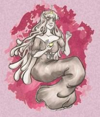 digitally enhanced drawing of princess bubblegum holding a lemon