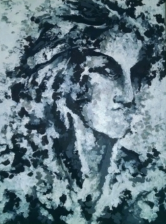 black and white monochrome painting of an abstracted female face