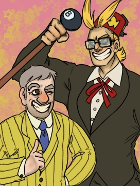 digital art drawing of grunkle stan and all might wearing each other's suits over a seventies background