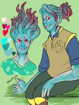 Digital art drawing of a blue alien girl with red tentacles and pink spots wearing a vest over a polo shirt