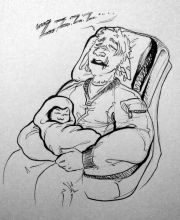 inktober2018 drawing of a sleeping spacedad cradling a swaddled alien baby in his lap