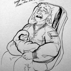 inktober2018 drawing of a sleeping spacedad cradling a swaddled alien baby in his lap
