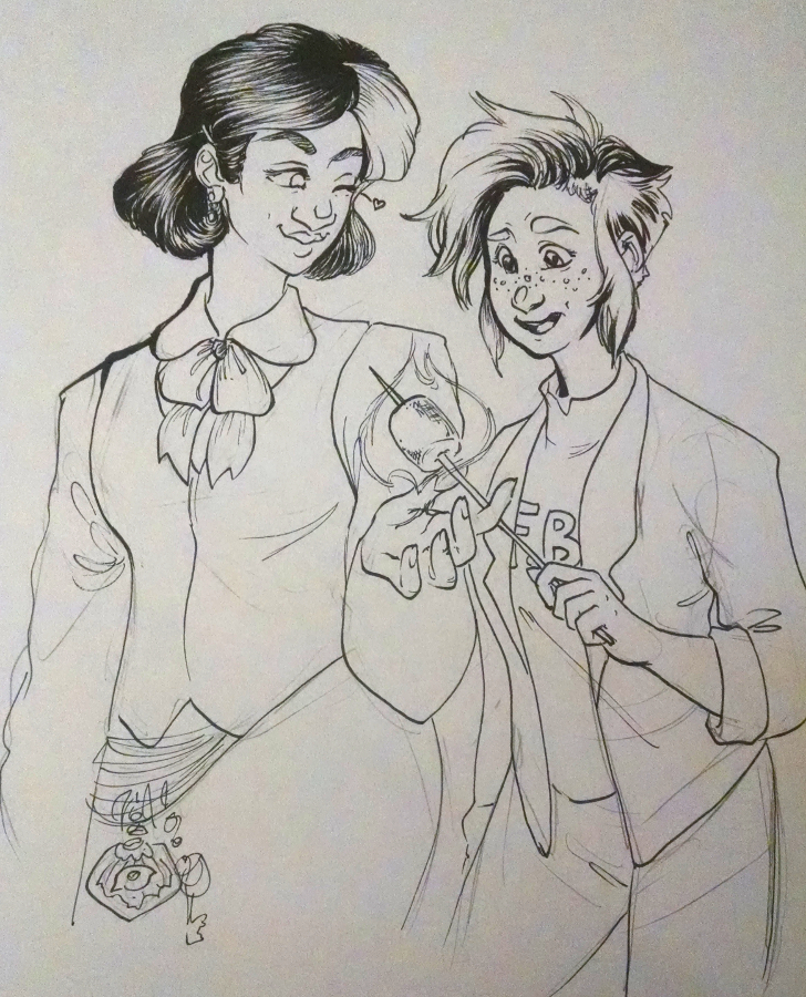 inktober2018 drawing of two quirky lady original characters from the scp foundation expanded universe