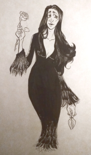 inktober2018 fanart drawing of morticia addams