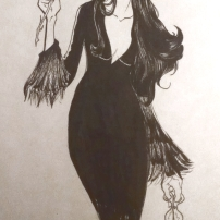 inktober2018 fanart drawing of morticia addams