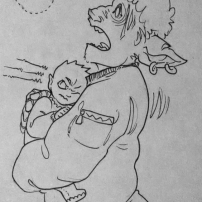inktober2018 drawing of a jittery spacedad holding an alien baby being startled by an insect