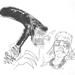inktober2018 drawing of an alien menacing a scarred and nervous spacedad