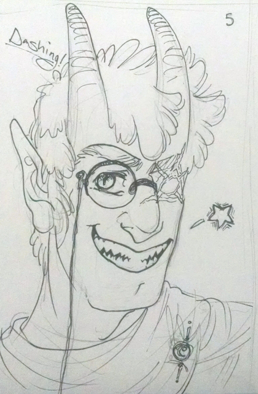 fanart of tiefling au grunkle ford with a monocle looking cute for ko-fi reward