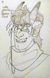 fanart of tiefling au grunkle ford with a monocle for ko-fi reward