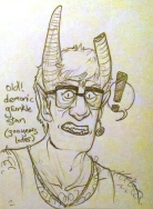 fanart of tiefling au grunkle stan for ko-fi reward