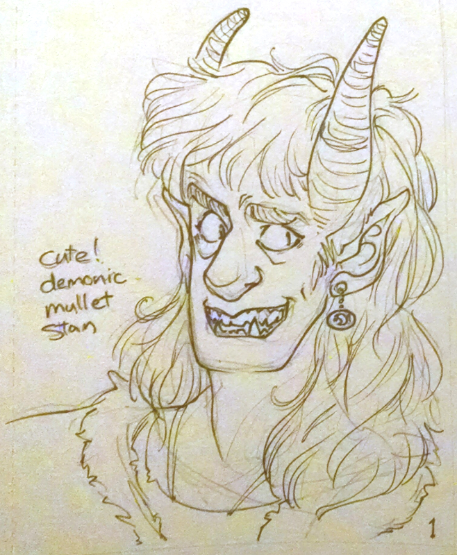 fanart of tiefling au grunkle stan mullet man for ko-fi reward