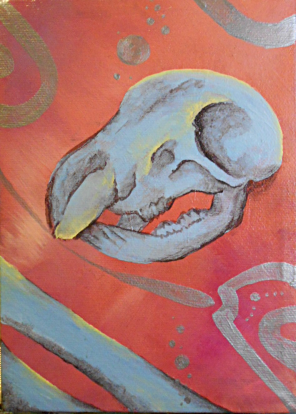 acrylic painting in neon orange, yellow, blue, brown, and metallic silver of an animal skull and bones