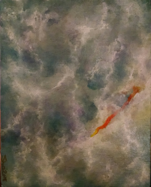 a stormy acrylic abstract painting with a bright orange, red, and yellow slash among white clouds