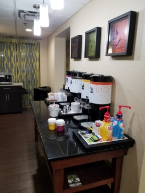 free coffee and tea in the lobby of a Hampton Inn by Hilton