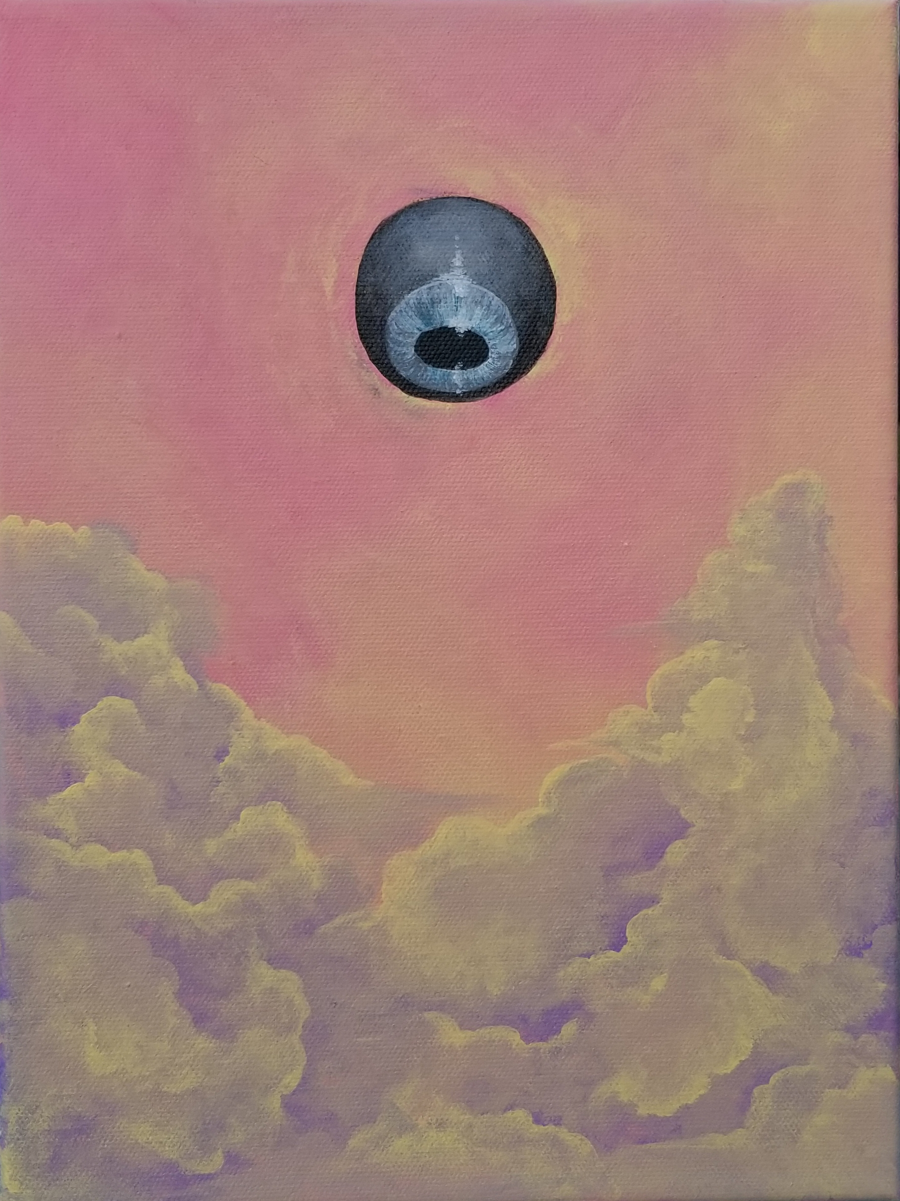 acrylic painting of an icy blue eye with a blackened sclera floating in a pink and gold sky over purple and yellow clouds at sunset