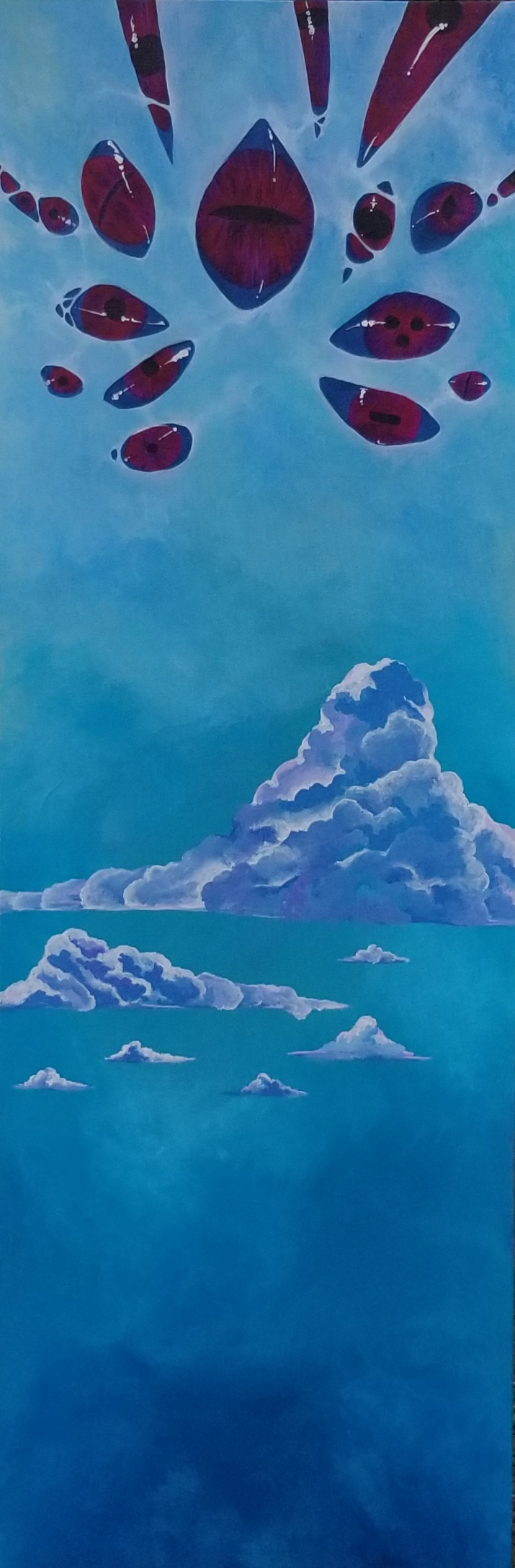 acrylic painting of a cluster of dark purple eyes opening high in a membrane like sky over puffy blue and white clouds
